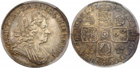 George I (1714-27). Silver Crown, 1718, 8 struck over 6 in date, laureate and draped bust right, Latin legend and toothed border surrounding, GEORGIVS...