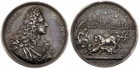 Jacobite, James (III), Elder Pretender. 'The Only Safeguard' Silver Medal, 1721. By O. Hamerani. Draped and cuirassed portrait bust of James Stuart, R...