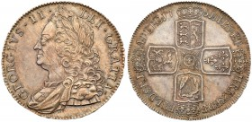 George II (1727-60). Silver Crown, 1751, older laureate and draped bust left, GEORGIUS.II. DEI.GRATIA., toothed border around rim both sides, Rev. cro...