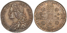 George II (1727-60). Silver Halfcrown, 1743, older laureate and draped bust left, legend and toothed border surrounding, GEORGIVS. II. DEI. GRATIA. Re...