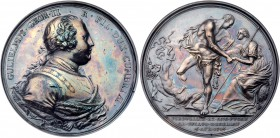 George II (1727-61). Silver Medal, 1746. Battle of Culloden. 51mm. By R. Yeo. Armoured bust of the Duke of Cumberland right. Rev. The Duke, as Hercule...