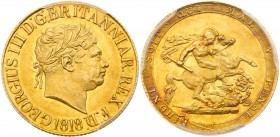 George III (1760-1820). Gold Sovereign, 1818, ascending colon in legend, first laureate head right, date below, Latin legend commences lower left GEOR...