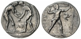 ASPENDOS: ca. 370-333 BC, AR stater (10.59g), S-5396 ff, two naked athletes wrestling, AK between // slinger advancing right, triskeles before, VF.