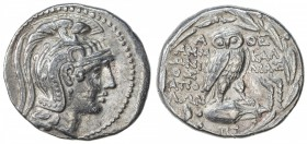 ATHENS: New style series, 166-57 BC, AR tetradrachm (16.55g), S-2555, head of Athena, eye in true profile, wearing crested helmet // owl standing on a...