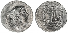CAPPADOCIAN KINGDOM: Ariarathes IX Eusebes Philapator, 101-87 BC, AR drachm (4.02g), year 5, S-7300/01, diademed king's head right // Athena standing,...
