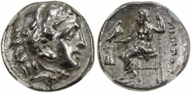 MACEDONIAN KINGDOM: Philip III, 323-317 BC, AR drachm, bust of Herakles right in lion's skin // Zeus seated left in throne with eagle, monogram to lef...
