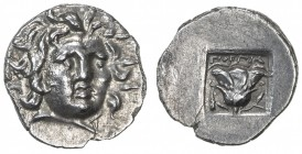 RHODES: Anonymous, ca. 125-88 BC, AR hemidrachm (1.28g), Rhodian-150, Gorgias, radiate head of Helios, three-quarter facing to right // rose with bud ...