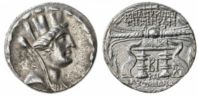 SELEUKEIA: AR tetradrachm (14.54g), year 12 (98/97 BC), S-5887/88, veiled and turreted head of Tyche // thunderbolt with fillet, placed on a cushion a...