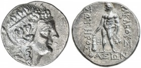 THASOS: after 148 BC, AR tetradrachm (16.78g), S-1759, head of young Dionysos, wreathed with ivy // Herakles, naked, holding club, lion's skin over le...
