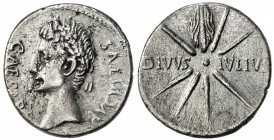 ROMAN EMPIRE: Augustus, 27 BC-14 AD, AR denarius (3.47g), Caesar Augustus (19-18 BC), S-1607, DIVVS IVLIVS, eight-rayed comet, with the tail above, so...