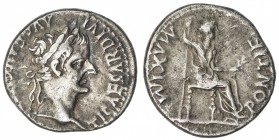 ROMAN EMPIRE: Tiberius, 14-37 AD, AR denarius (3.73g), Lugdunum (after AD 16), S-1760, PONTIF MAXIM, Livia as Pax, seated right on chair with ornate l...