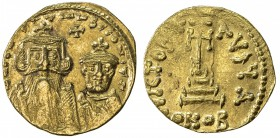 BYZANTINE EMPIRE: Constans II, 641-668, AV solidus (4.31g), Constantinople, S-959, Officina A, crowned facing busts of Constans with long beard at lef...