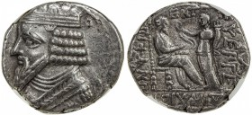 PARTHIAN KINGDOM: Gotarzes II, ca. 44-51 AD, AR tetradrachm, Seleukeia on the Tigris, diademed and draped bust of Gotarzes II left // King seated righ...
