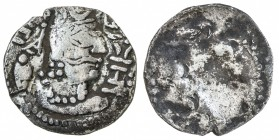 ALCHON HUNS: Mehama, fl. 461-493, AR drachm (3.74g), G-145, crowned bust right, with murex symbol in left field and tamgha in right // a few traces of...