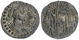 HUNNIC: Sri Shahi, 6th century, BI drachm (2.54g), G-257, crowned bust right, tamgha behind, Brahmi legend to right // fire-altar & attendants, lovely...