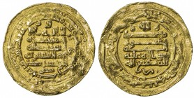 IKHSHIDID: Abu'l-Qasim, 946-961, AV dinar (3.99g), Filastin, AH337, A-676, ornaments below obverse & reverse fields, removed from jewelry, VF.