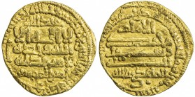 FATIMID: al-Mahdi, 909-934, AV dinar (3.95g), al-Qayrawan, AH303, A-688, Nicol-30b (same dies), mint name largely off flan but confirmed by die-link, ...