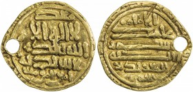 FATIMID: al-Mu'izz, 953-975, AV dinar (3.78g), [Sijilmasa], DM, A-697.2, obverse & reverse fields have several line horizontal inscriptions, pierced, ...