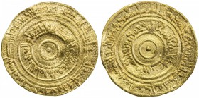 FATIMID: al-'Aziz, 975-996, AV dinar (4.13g), Filastin, AH376, A-703, Nicol-678, somewhat wavy surfaces, VF, S.