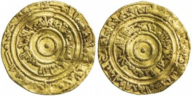 FATIMID: al-'Aziz, 975-996, AV dinar (4.14g), Misr, AH371, A-703, Nicol-706, lightly crinkled, VF.