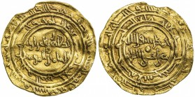 FATIMID: al-Zahir, 1021-1036, AV dinar (4.18g), al-Mansuriya, AH415, A-714.1, Nicol-1558, crinkled, one tiny chip (probably because mount removed), fu...
