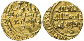 FATIMID: al-Mustansir, 1036-1094, AV ¼ dinar (0.75g), NM, DM, A-721, mint is unclear, but probably Sur, VF.
