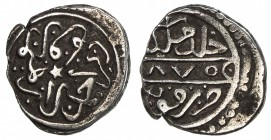 KARAMANID: Pir Ahmad, 1464-1466, AR akçe (0.84g), Konya, AH870, A-1277, the zero of the date as an annulet, lovely VF.