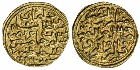 OTTOMAN EMPIRE: Süleyman I, 1520-1566, AV sultani (3.54g), Kostantiniye, AH926, A-1317, lovely well-centered strike, choice VF.