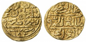OTTOMAN EMPIRE: Murad III, 1574-1595, AV sultani (3.47g), Misr, AH982, A-1332.1, very slightly bent, VF-EF.
