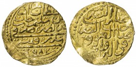 OTTOMAN EMPIRE: Murad III, 1574-1595, AV sultani (3.53g), Sidrekapsi, AH982, A-1332.1, slightly uneven surfaces, VF-EF.