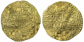 ALGIERS: Mustafa IV, 1807-1808, AV sultani (3.19g), Jaza'ir, AH1222, KM-57, UBK-1.0, pierced and repaired, presumably having once been mounted in jewe...