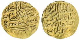 EGYPT: Ahmed II, 1691-1695, AV sherefi altin (sultani) (3.48g), Misr, AH1102, KM-57, NP-475, above average strike, with minimal weakness around the ri...