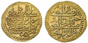 EGYPT: Ali Bey, 1769-1771, AV zeri mahbub (2.59g), Misr, AH1171/83, KM-119, in the name of Mustafa III, with the rebel indicated by 'ayn alif atop the...