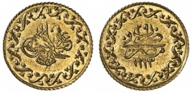 EGYPT: Mahmud II, 1808-1839, AV 10 qirsh (0.78g), Misr, AH1223 year 29, KM-213, lovely lustrous example, perhaps the finest known example! Brilliant U...