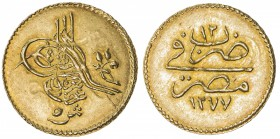 EGYPT: Abdul Aziz, 1861-1876, AV 5 qirsh (0.43g), Misr, AH1277 year 12, KM-255, choice UNC.