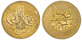 EGYPT: Murad V, 1876, AV 100 qirsh, Misr, AH1293 year 1, KM-272, traces of original mint luster around the legends, EF, RR.