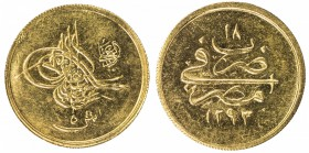 EGYPT: Abdul Hamid II, 1876-1909, AV 5 qirsh (0.43g), Misr, AH1293 year 18, KM-298, Brilliant UNC.