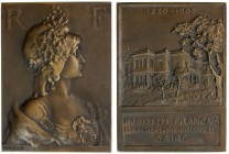 EGYPT: AE plaque (51.91g), 1909, 53 x 39mm; French Institute of Oriental Achaeology Cairo: bust of Marianne right, signature of Vernier below // view ...