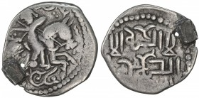 GREAT MONGOLS: Töregene, 1241-1246, AR dirham (2.62g), NM, ND, A-1976, horseman right, turned back and firing an arrow to the left, without any animal...