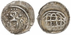 GOLDEN HORDE: Anonymous, 1270s-1310s, AR dirham (1.61g), NM, ND, A-A2020, anepigraphic: tamgha // complex knot design, minor weakness as usual, VF-EF.