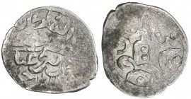GOLDEN HORDE: Mustafa Khan, 1440s, AR dirham (0.62g), Hajji Tarkhan, ND, A-2062, decent strike, showing almost all of the obverse legend with his name...