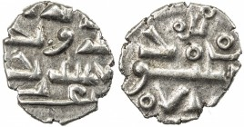HABBARIDS OF SIND: Ahmad, ca. 950-1000, AR damma (0.41g), ND, A-1502A, with Arabic 'izz below the obverse field, lillah above the reverse, EF-AU, R.