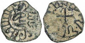 ARMENIA: Hetoum I, 1226-1270, AE kardez (3.15g), Ner-433, countermarked izz al-din in Arabic, the host coin shows the king seated in ornamental fashio...