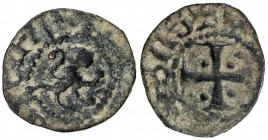 ARMENIA: Levon V, 1374-1375, AE pogh (0.78g), Ner-505/07, lion of Cyprus walking right // cross potent, with pellet in each of the four quadrants, VF,...