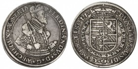 AUSTRIA: Ferdinand II, 1564-1595, AR thaler (28.42g), Hall, ND, Dav-8095, 2 minor flan defects at the top of the obverse, attractive VF.