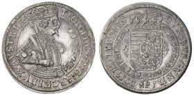 "AUSTRIA: Leopold V, Archduke, 1619-1632, AR thaler (28.74g), Hall, 1632, Dav-3338, posthumous issue, with ""globule"" on the archduke's armor at his elb..."