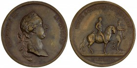 AUSTRIA: Joseph II, 1765-1790, AE medal (52.85g), 1769, Slg. Montenuevo-1996 (AR), Forrer III, 214, 49mm bronze medal for the Emperor's Journey to Ita...