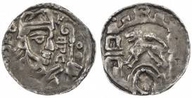 LIÈGE: Rudolph of Zaeringen, 1167-1191, AR denier (0.85g), ND [ca. 1185], Dengis-364, Chestret-121, bust right with letters HPC to right of portrait w...