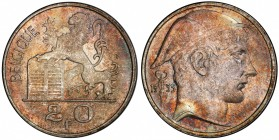BELGIUM: Baudouin I, 1951-1993, AR 20 francs, 1955, KM-140.1, helmeted head right, rampant lion left with shield // small caduceus divides date at lef...