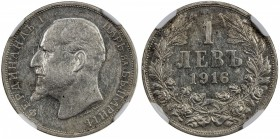BULGARIA: Ferdinand I, king, 1908-1918, AR lev, 1916, KM-31, NGC graded AU50, RR. Although a large quantity was struck, they were never released into ...